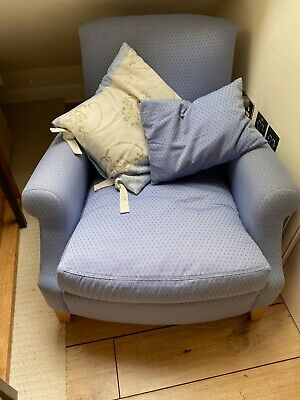 Designers Guild Blue Upholstered Arm Chair Very Good Condition • 129.99£