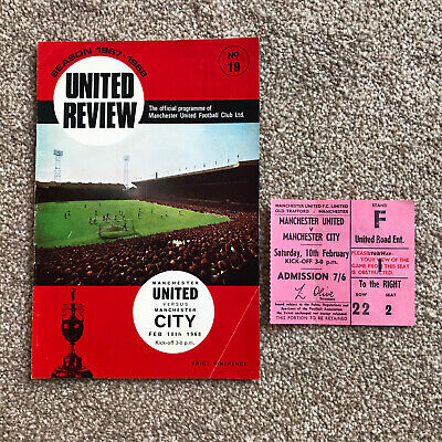 Manchester United V Manchester City. 10th Feb 1968. With Ticket. Postponed Game. • 5£