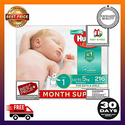 AU69.99 • Buy Huggies Disposable Ultimate Nappies, Unisex,Size 1 Newborn (Up To 5kg) 216 Count