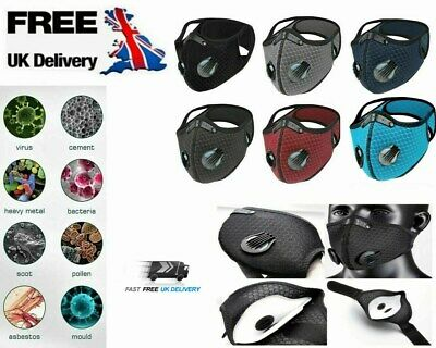 Face Mask Reusable Washable Anti Pollution PM2.5 Two Air Vent With Filter UK • 3.99£