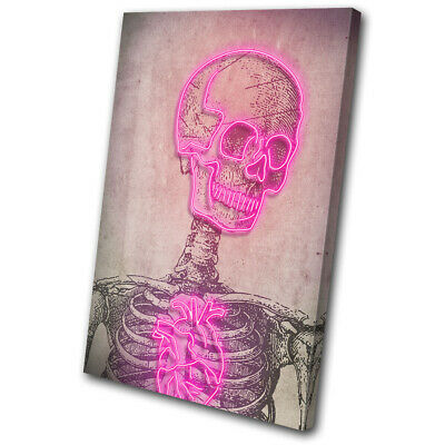 Skull Retro Neon Pink Vintage SINGLE CANVAS WALL ART Picture Print • 19.99£