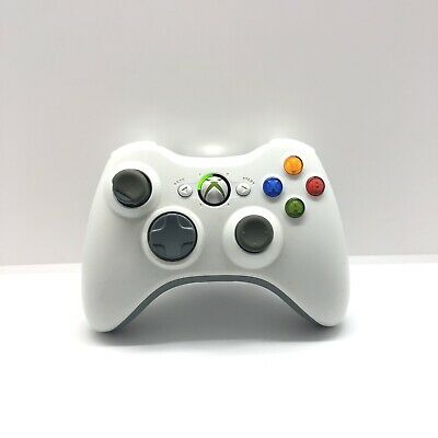 AU39.95 • Buy White Xbox 360 Controller Genuine Microsoft Black Battery Pack Free Postage