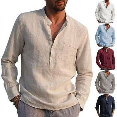 Men Casual Long Sleeve Henley T Shirts Button Loose Grandad Collar Shirt Tops UK • 11.68£