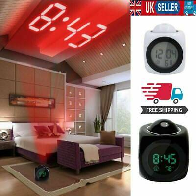 Projection LED Digital Alarm Clock Voice Talking Temperature Wall/Ceiling LCD UK • 7.79£