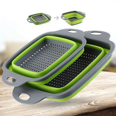 Foldable Fruit Vegetable Colander Silicone Washing Basket Strainer Washing Drain • 4.59£
