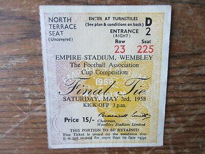 1958 FA Cup Final Bolton V Manchester United Original Used Ticket Stub In Vgc • 3£