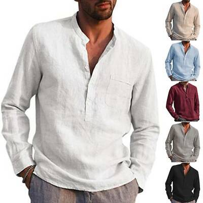Men's Grandad Shirts Long Sleeve Mandarin Collar Mens Casual Collarless Tops UK • 11.68£