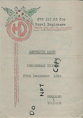 WW2 Menu 1944 276 Highland Field Company Royal Engineers 51st Highland Division • 19.99£