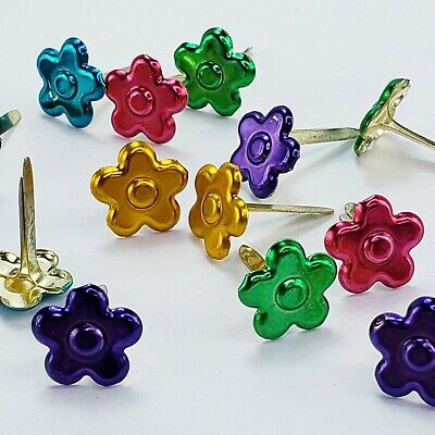 $1.25 • Buy 20 Metallic Flower Brads Scrapbooking Embellishments 5 Clrs Junk Journals Crafts