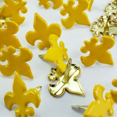 $1.25 • Buy 24 Fleur De Lis Brads Yellow Gold Cub Boy Scouts Crafts Scrapbooking Cardmaking