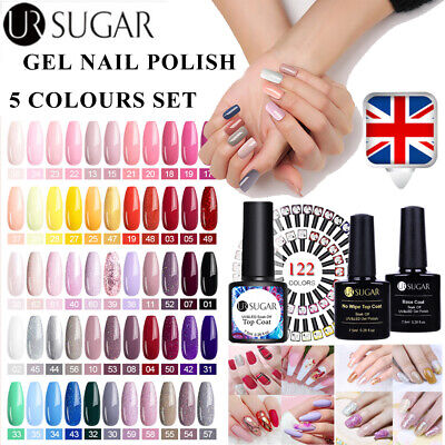 5Bottles/Set UR SUGAR UV Gel Nail Polish Rose Gold Glitter Soak Off Varnish 5Pcs • 2.99£