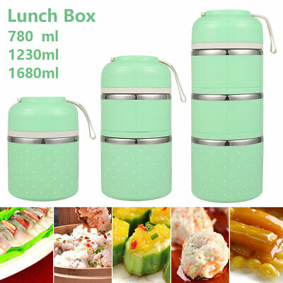 AU16.49 • Buy 3 Layer Tier Stainless Steel Thermal Insulated Stackable Lunch Box Bento Food AU