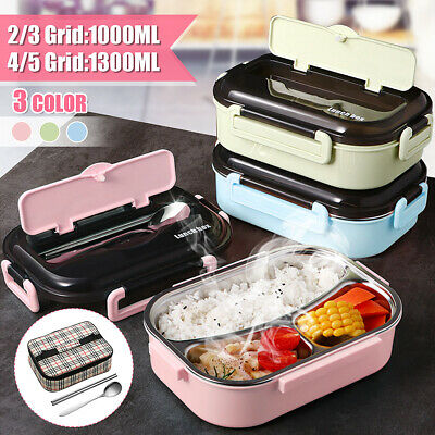 AU15.97 • Buy 🔥 2/3/4/5 Grid Thermal Insulated Lunch Box Bento Food Container Women Stainless