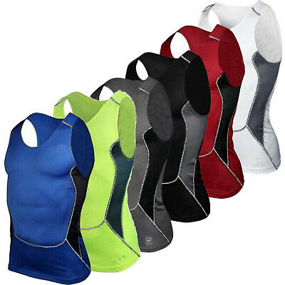 Mens Compression Base Layer Tank Tops Fitness Gym Sports Casual Training Vest UK • 7.99£
