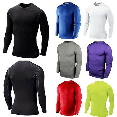 Mens Compression Base Layer Tops Long Sleeve Thermal Fit Sports Training Shirts • 9.59£
