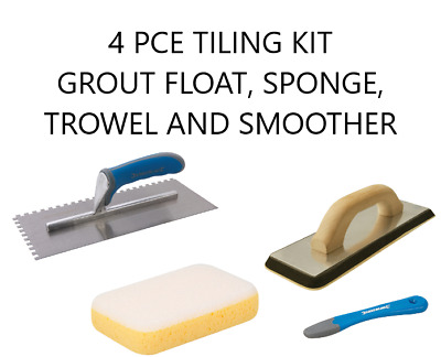 Tiling Kit White Grout Float, Grout Sponge, Adhesive Trowel And Smoother Diy • 17.50£