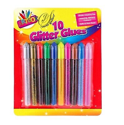 10 Glitter Glue Gel Pens Art Craft Sparkly Coloured Markers Kids School Artbox • 2.43£