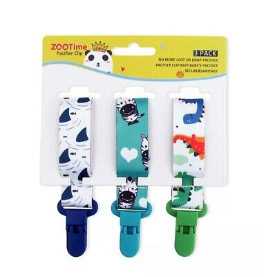 3X Dummy Clips Baby Boys Girls Soother Chain Holder Strap Pacifier Baby Care UK • 4.99£