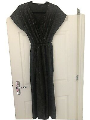 Black With Silver Striped Peacocks Jumpsuit Size 8 • 1.30£
