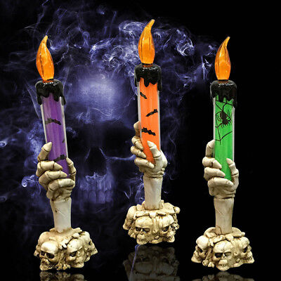 £5.79 • Buy Halloween Skeleton Hand Led Lamp Candle Flame Light Stand Lamp Party Decor Prop