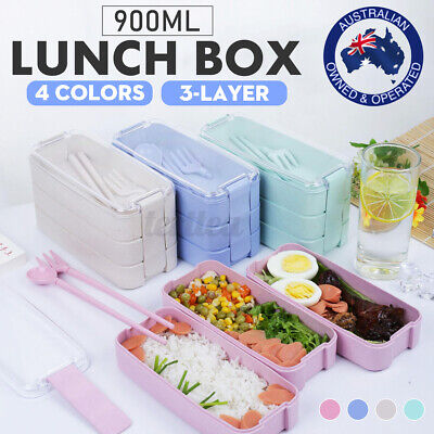 AU17.19 • Buy Lunch Box Leakproof Microwave Food Container 3 Layer Bento Box 900ML School Work