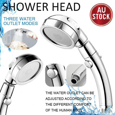 AU19.99 • Buy 3 Functions Hand Held Shower Head Round High Pressure With ON/Off Pause ON OFF