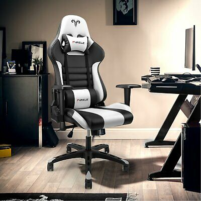 AU129.99 • Buy Computer Gaming Chair Executive Office Chairs Racer Recliner PU Seat Black&White