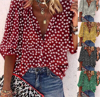 Womens Button Chiffon Shirt Casual Sexy Blouse Ladies Deep V-Neck Loose Tops • 7.99£