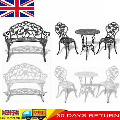 Garden Bistro Table And Chairs Set Cast Aluminium Outdoor Furniture Park Seat • 169.29£