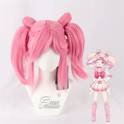 £23.99 • Buy Sailor Moon Chibi Usa Cosplay Short Pink Wig Ponytail Clip Party Halloween Wigs