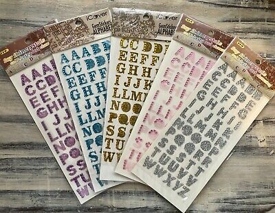 5 Pks Of ALPHABET STICKERS Gold Silver Pink Glitter & Gem Crystals - Uppercase • 7.50£