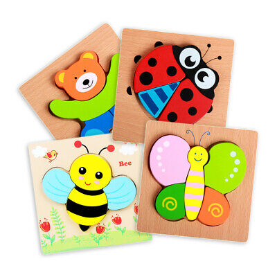 Wooden Animal Puzzles For Toddlers 1 2 3 Years Old Boys Girls Educational Toys • 14.77£