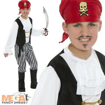 Deluxe Pirate Boys Fancy Dress Childrens World Book Day Kids Childs Costume • 6.99£