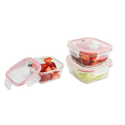 £11.99 • Buy Neo 3pc Glass Food Storage Containers & 3 Airtight Tupperware Clip Lids