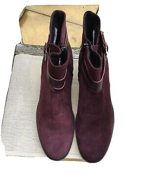TAMARIS Ladies Suede Boots - Burgundy - Size 41 (UK Approx Size 7.5) • 14.99£