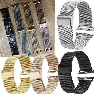 $ CDN14.46 • Buy For Apple Watch Series 5 4 3 2 1 Milanese Stainless Steel Band Wrist Straps Belt
