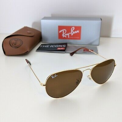 AU59.90 • Buy Ray-Ban Aviator Large 58mm - Gold Frame Brown Lens Sunglasses - RB3025 001/33