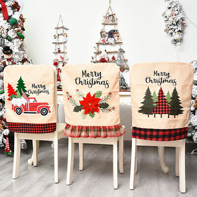 Christmas Santa Tree Dining Chair Back Covers Party Xmas Chair Table Decoration • 6.39£