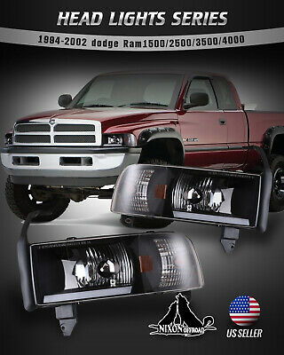 $102.99 • Buy For 94-01 Dodge Ram 1500 2500 3500 Headlights LED DRL Bar Front Lamps Black Pair