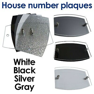 House Number Plaques Glass Effect Acrylic Signs Door Plates Name Wall Display • 3.99£