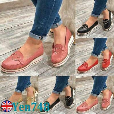 Womens Wedge Flatform Loafers Ladies Slip On Comfy Casual Work Pumps Shoes Size • 13.96£