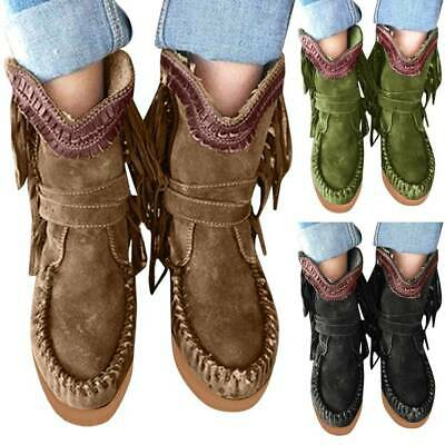 £22.19 • Buy Womens Ladies Suede Fringed Moccasin Ankle Boots Flat Platform Casual Shoes UK