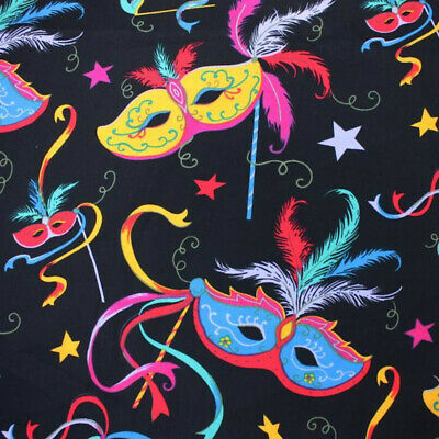 £8 • Buy 100% Cotton Fabric Masquerade Mask Masked Ball Carnival Feathers 145cm Wide