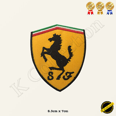 Ferrari Car Brand Logo Embroidered Iron On /Sew On Patch/Badge For Clothes Etc • 1.99£
