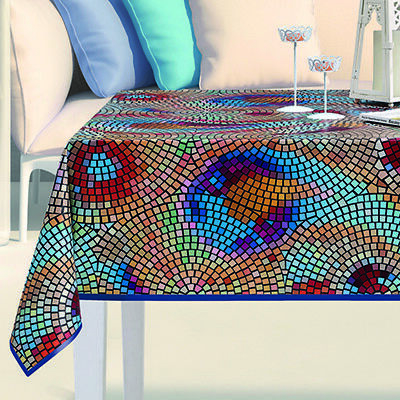£7.99 • Buy Mosaic PVC OILCLOTH Plastic Fabric Vinyl Cloth Dining Table Protector Cover 54