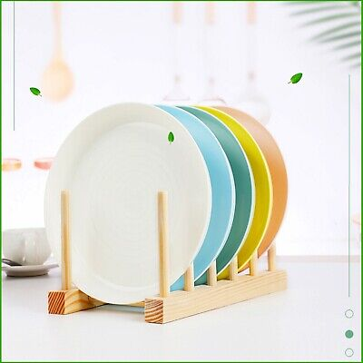 £5.99 • Buy Wooden Dish Plate Rack Holder Storage Drying Drainer Vertica Plate Cup Stand UK