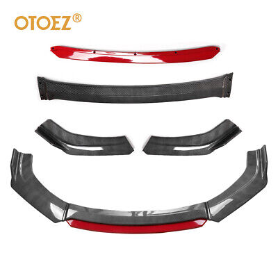 $59.99 • Buy Carbon Fiber Universal Front Bumper Lip Spoiler Splitter Protector + Red Layer