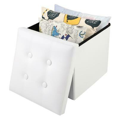 PVC Leather Ottoman Storage Toy Box Foot Stools 1 Seater Bench Seat Bedroom UK • 9.99£