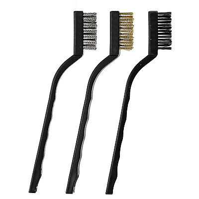 3 Piece Wire Brush Hand Set Rust Removal Nylon Steel Brushes Brass Clean Surface • 1.89£