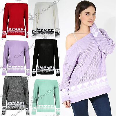 Ladies Womens Hearts Print Off The Shoulder Chunky Knitted Sweater Top Jumper • 12.99£